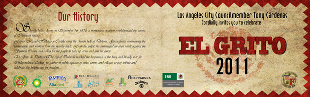 El-Grito Invitation Design City of Los Angeles / Counsel Member Tony Cardenas