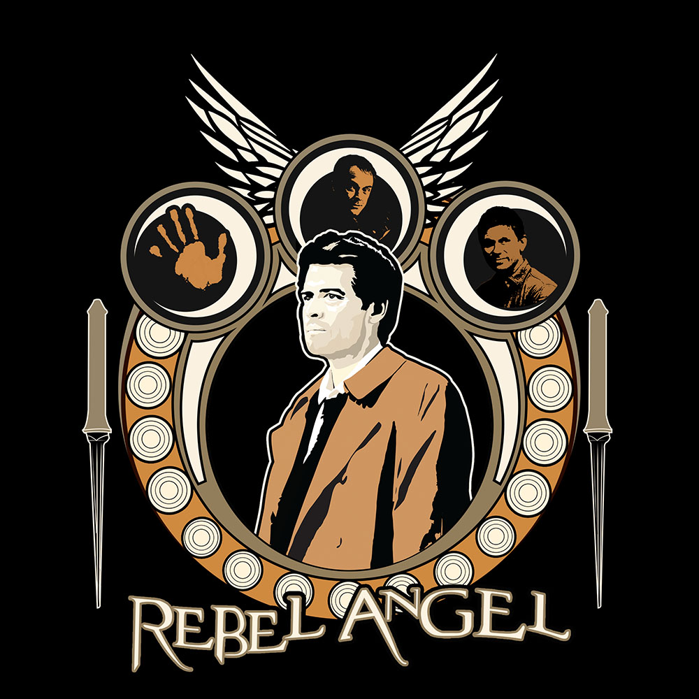 Supernatural Castiel T-shirt artwork -  Designed at Creation Entertainment