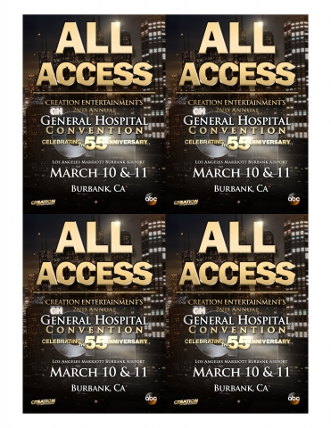 General Hospital All Access Weekend Passes Designed at Creation Entertainment