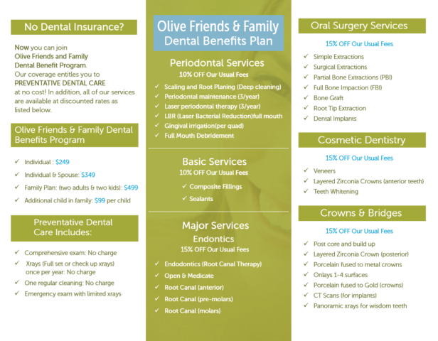 Olive Family Denistry Brochure inside