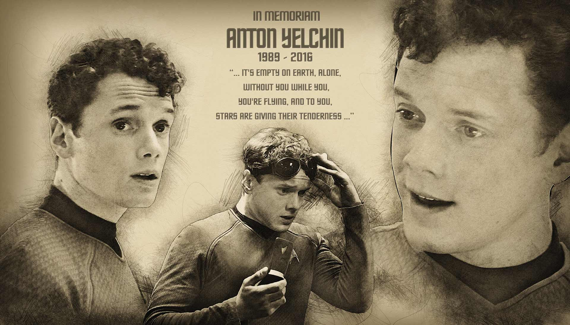Star Strek Las Vegas In Memoriam-to Anton Yelchin Banner Designed at Creation Entertainment