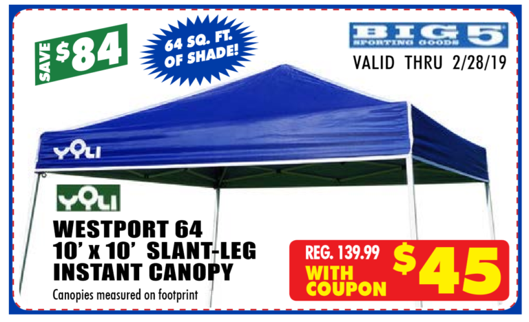 Big 5 Sample Instant Canopy ad